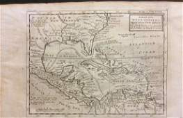 Moll: Antique Map of West Indies Central America, 1746