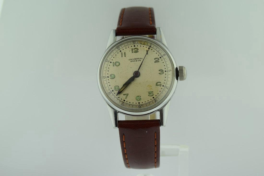 Universal Geneve Stainless Steel Oversized Crown Watch