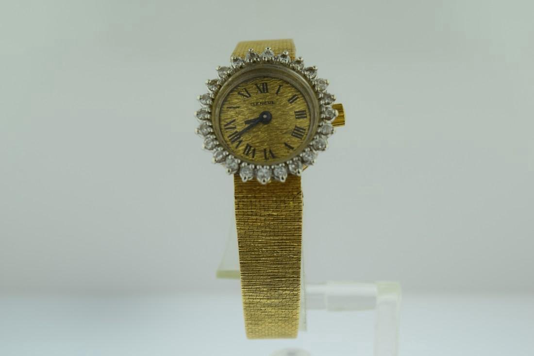 Geneve 14K Solid Gold Diamond Quartz Watch, 1980s