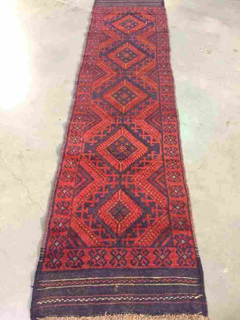 Authentic Hand Knotted Afghan Runner Rug 2.1x8.2