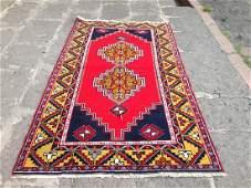 Turkish Vintage Handmade Nomadic Area Rug 6.7x3.8