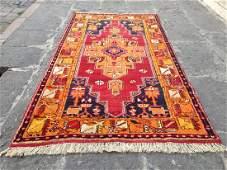 Turkish Vintage Handmade Nomadic Area Rug 7.3x3.8