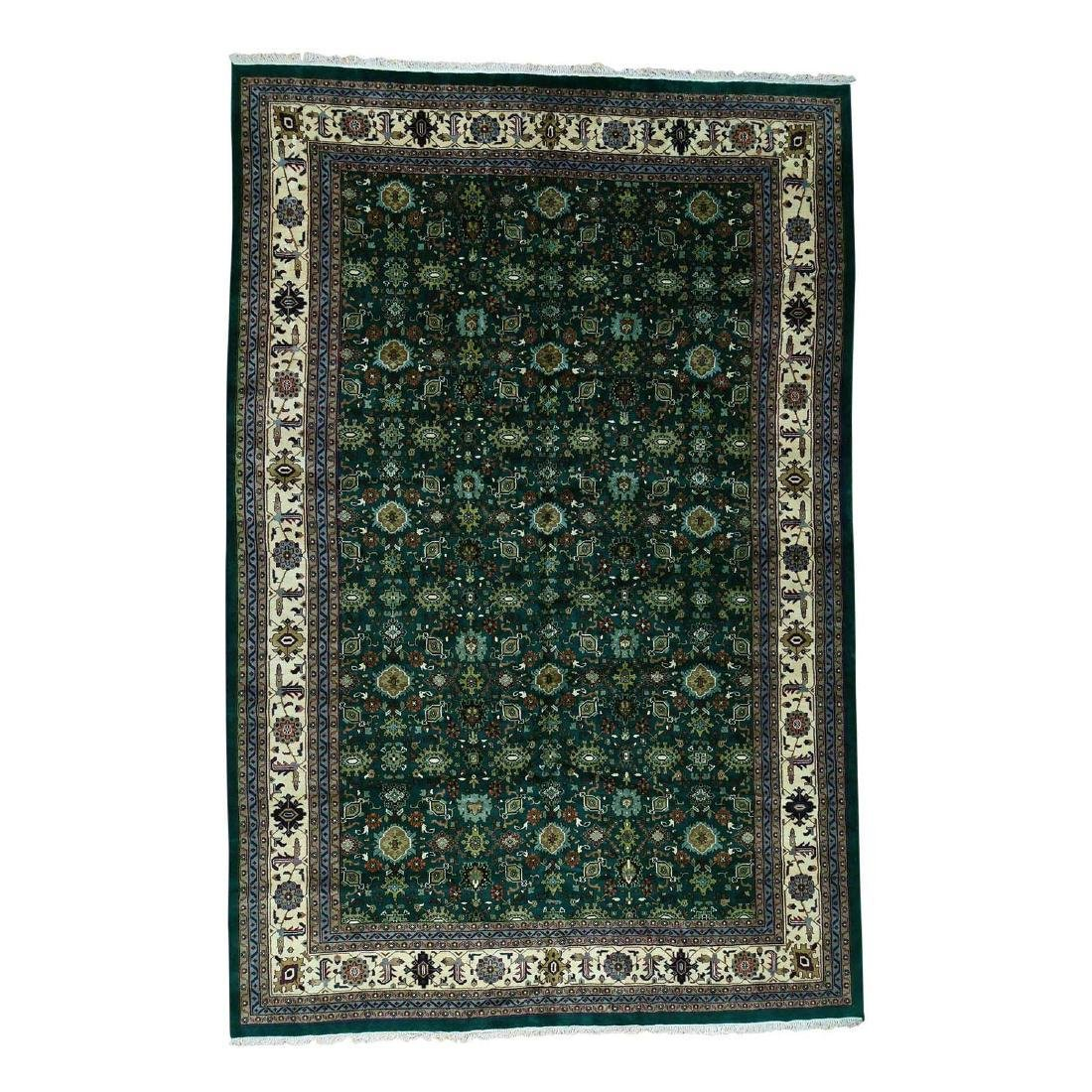 Hand-Knotted Indo Mahal Pure Wool Rug 12.1x18.4