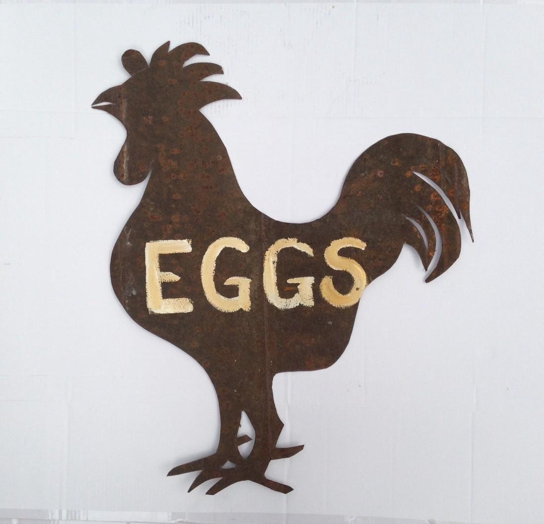American Folk Art Tin Rooster Egg Sign