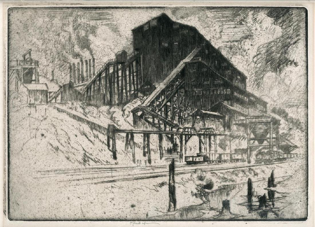 Joseph Pennell Signed Etching of a Colliery