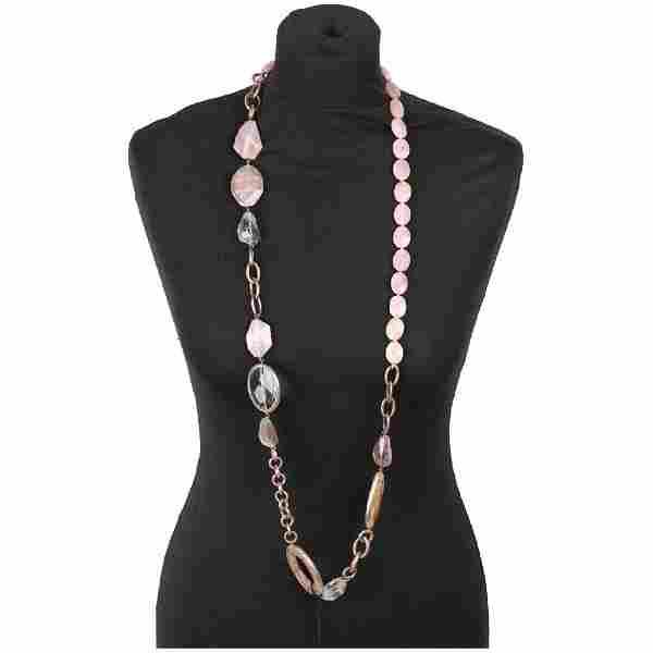 Rose Quartz & Agate Gemstones Long Necklace