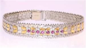 Vintage 70's Two Tone 18K Gold Ruby Bracelet, .5ctw