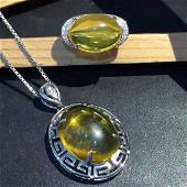 Sterling Silver Amber Zircon Pendant Ring Set