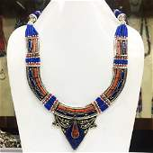 Tibetan Silver Coral & Lapis Tribal Ethnic Necklace