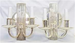 Art Deco Dual Candelabra Silver Sconces
