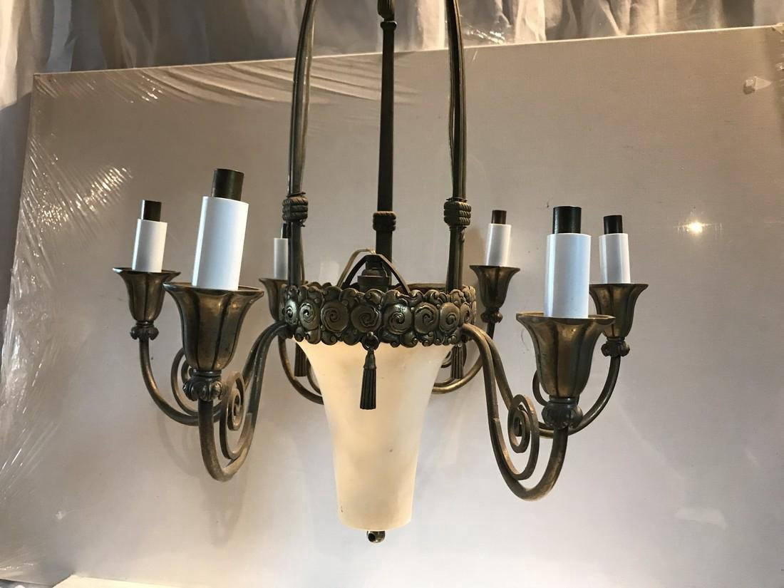 Deco Style Silvered Bronze Alabaster Chandelier