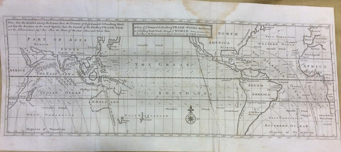 Moll: Antique Map of World Trade Winds, 1746