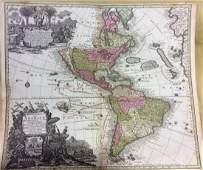 Seutter: Antique Map of Western Hemisphere, 1740