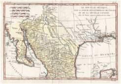Bonne Antique Map of Mexico  the Southwest 1780