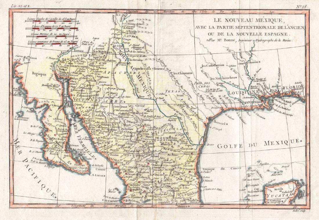 Bonne: Antique Map of Mexico & the Southwest, 1780