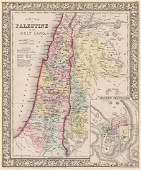 Mitchell: Antique Map of Palestine, 1864