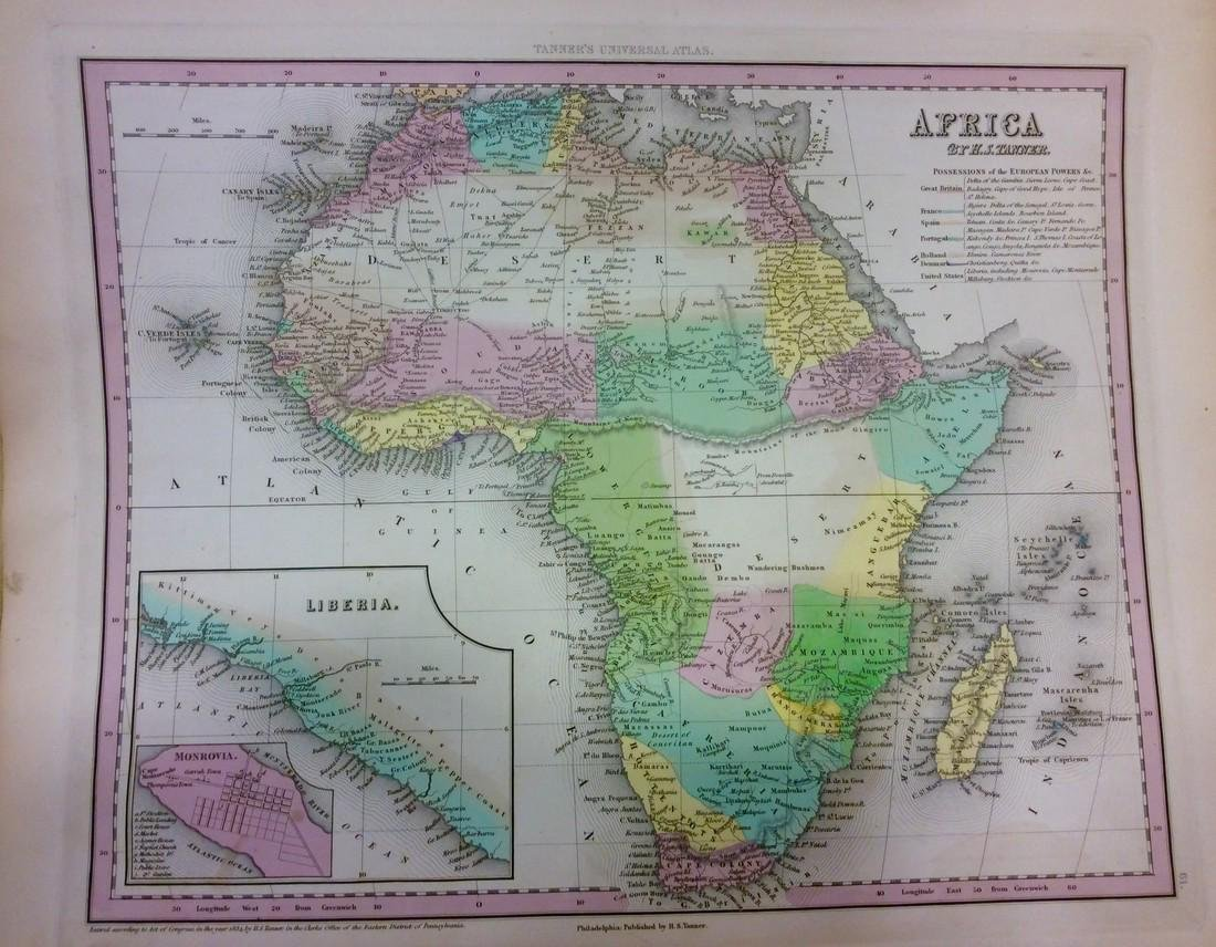 Tanner: Antique Map of Africa, 1843