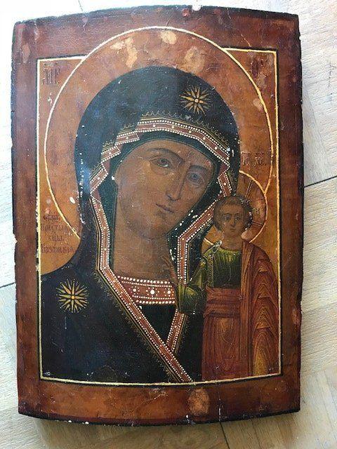 Mother of God Kazanskaya Antique Icon, 19th C