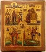 Many Panels Antique Icon, 18th-19th Century