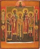 Saints Antique Wooden Icon, 19th C