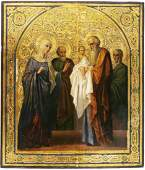 Presentation of Christ in Temple Antique Icon 19th C