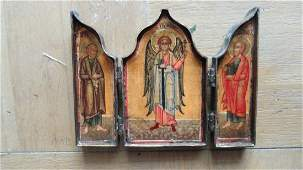 Antique Triptych Icon in Bronze Frame, 19th C
