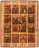 Resurrection and 12 Feasts Antique Icon, 18th C