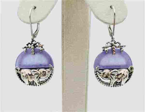 Sterling Silver Violet Jade Figural Elephant Earrings