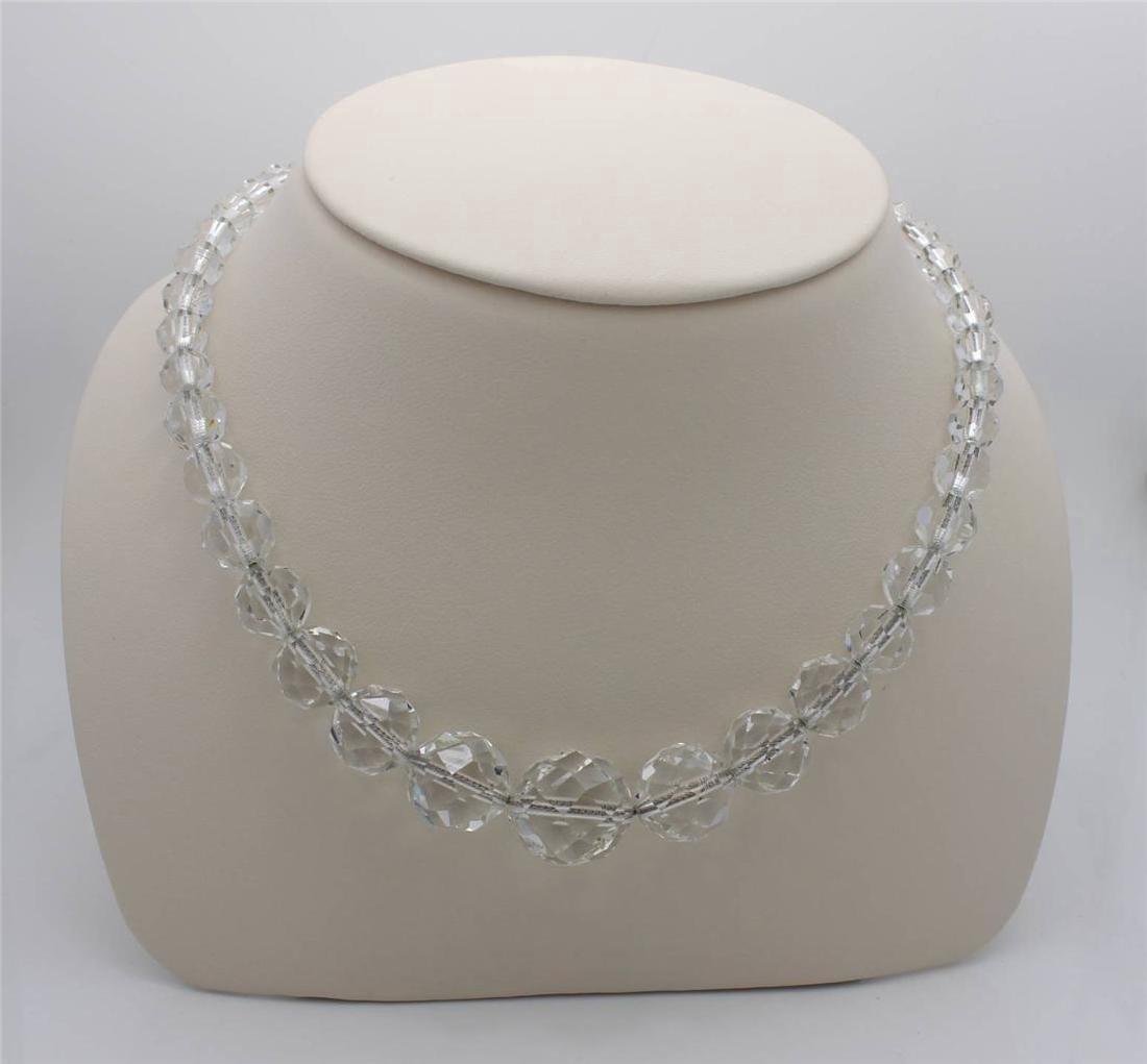 Vintage Art Deco Sterling Silver Crystal Bead Necklace
