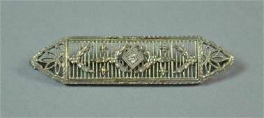 Art Deco Style 14K White Gold Filigree Diamond Bar Pin