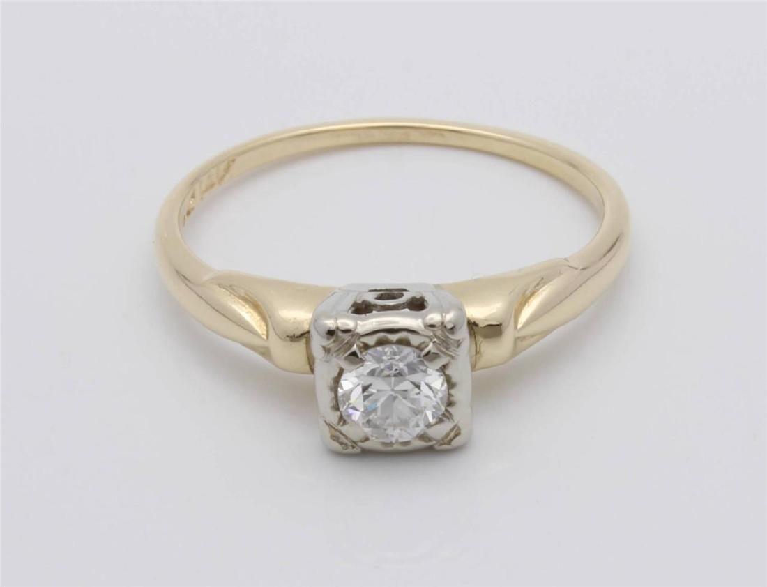 Vintage 14K Gold Diamond Engagement Ring. ,3ct