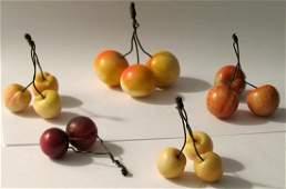 Group of 5 Vintage Stone Cherries