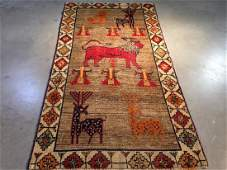 Persian Gabeh Hand Knotted Wool Pictorial Rug 34x65