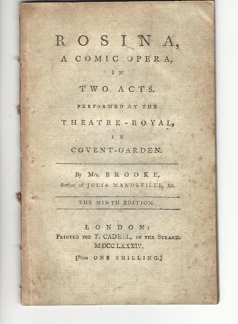1784 Rosina A Comic Opera Acted at Theatre Royal