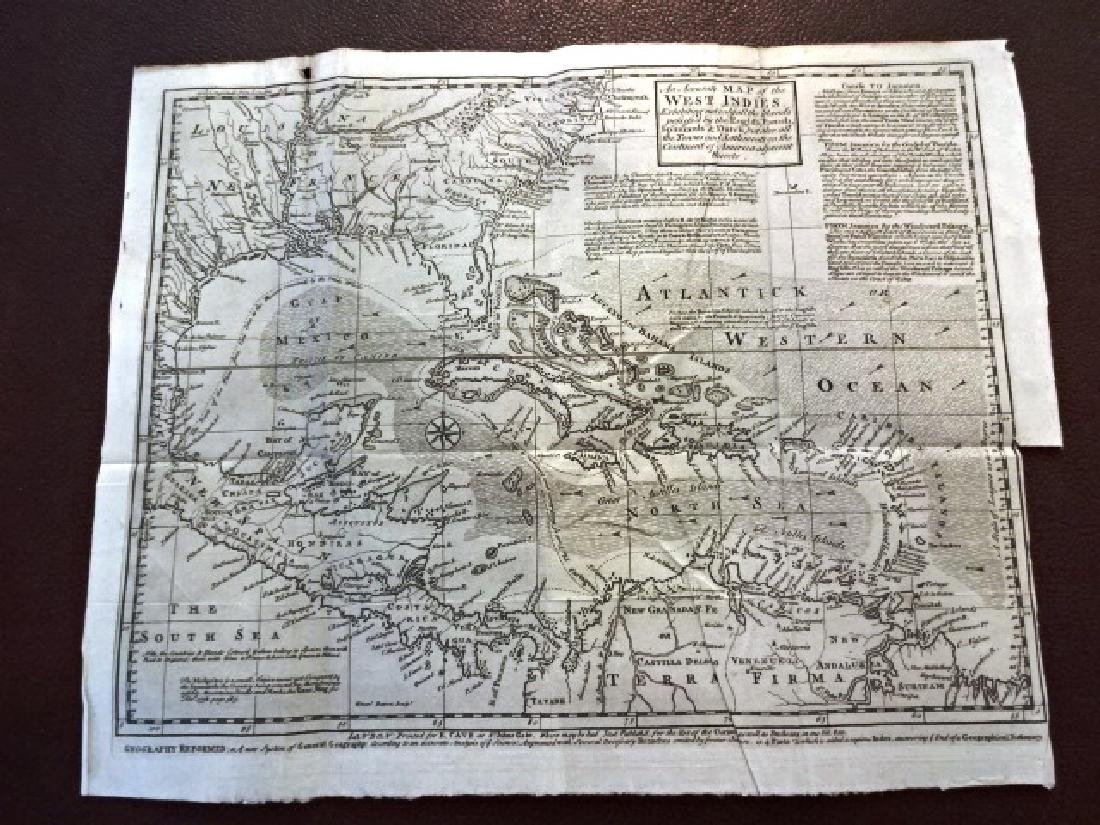 1740 Detailed Folding Map West Indies and America