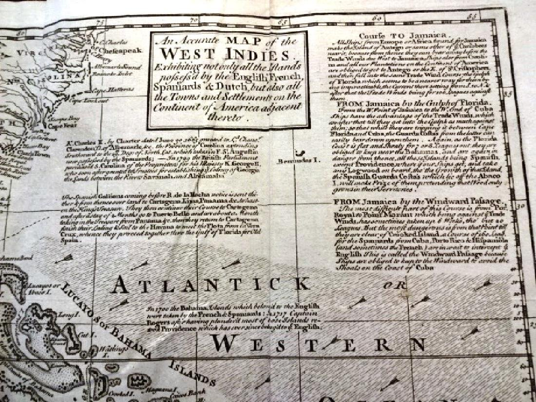 1740 Detailed Folding Map West Indies and America - 2