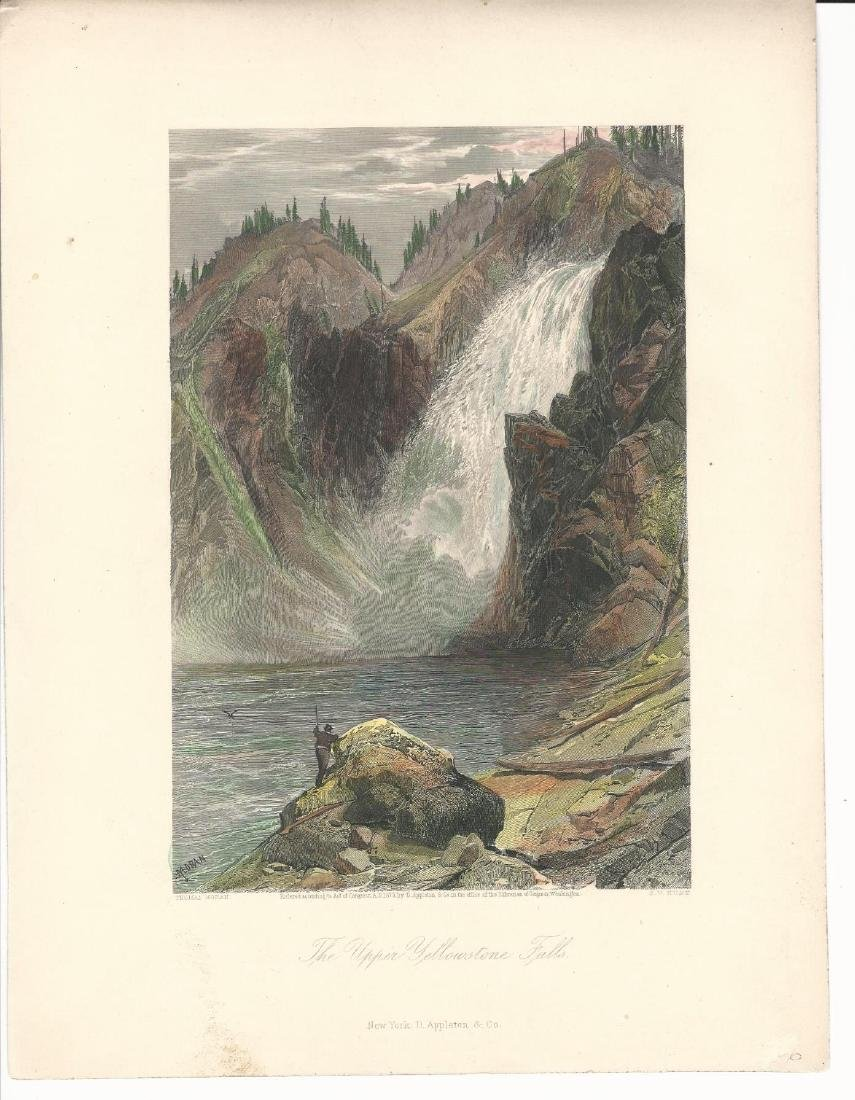 1873 Color Tinted Engraving Upper Yellowstone Falls