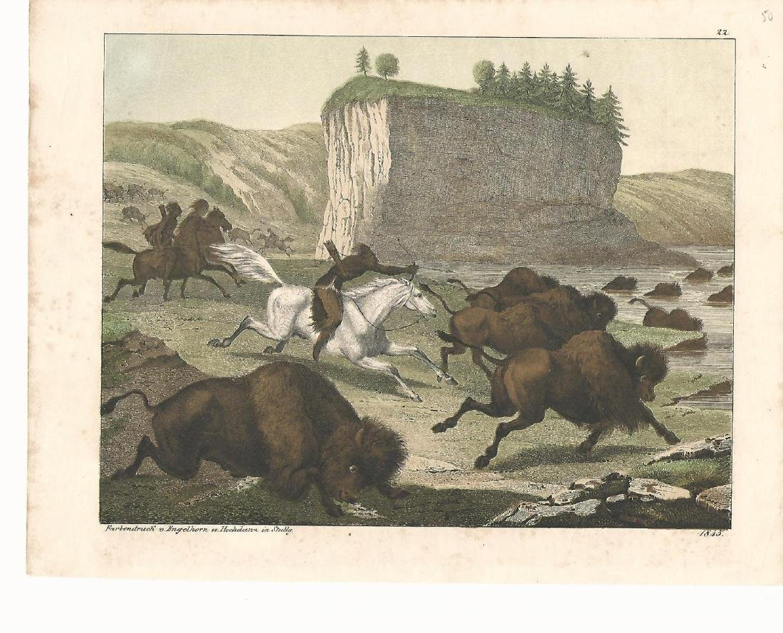1845 Hand Colored Engraving Indians Hunting Buffalo