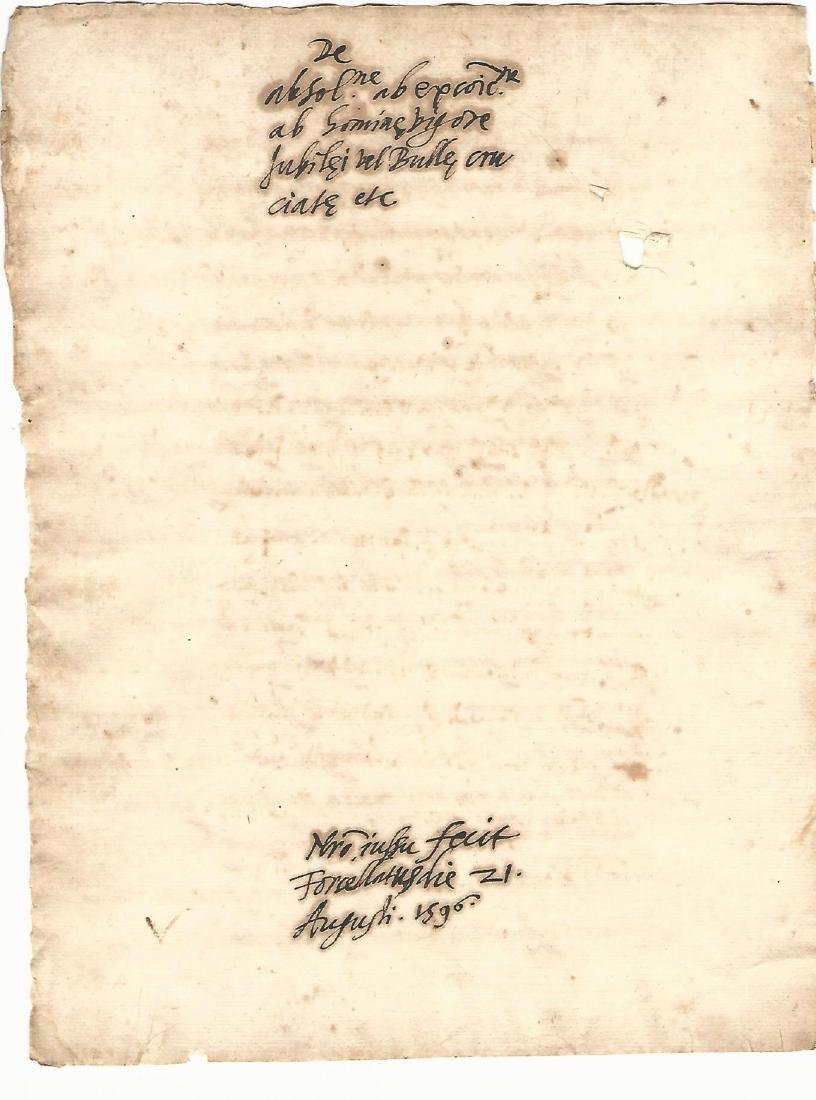 1596 Docket Leaf Papal Bull Rome
