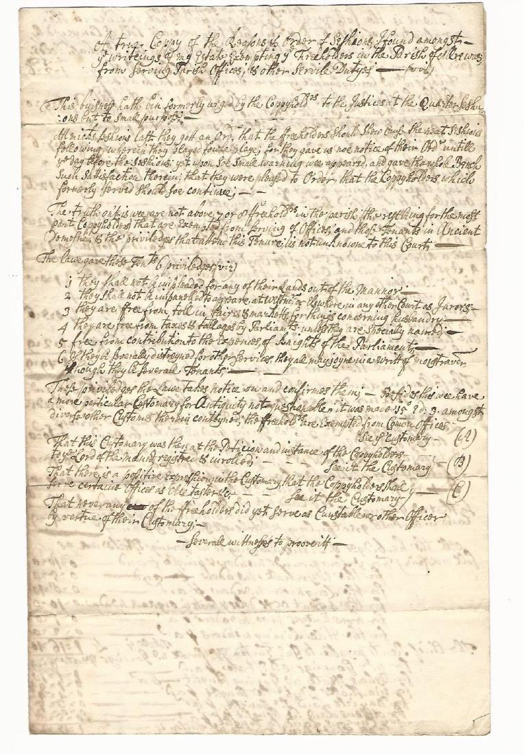 Early 18th Century Manuscript English Manor Laws - 2