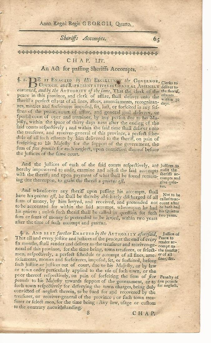 1771 Colonial New Hampshire Law Leaf Swine Laws