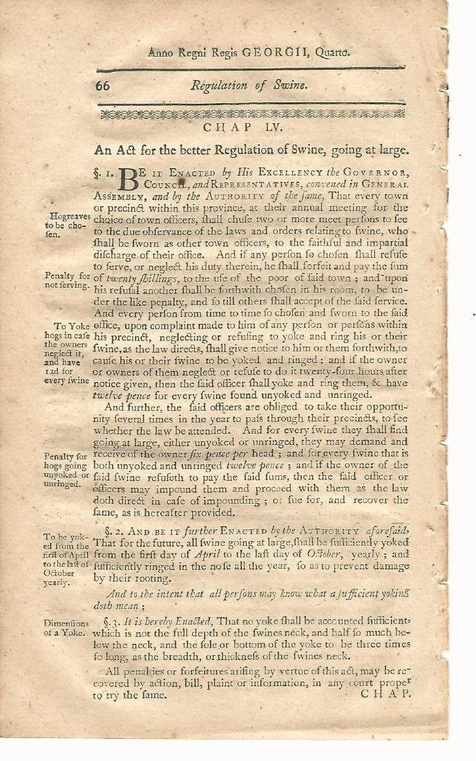 1771 Colonial New Hampshire Law Leaf Swine Laws - 2