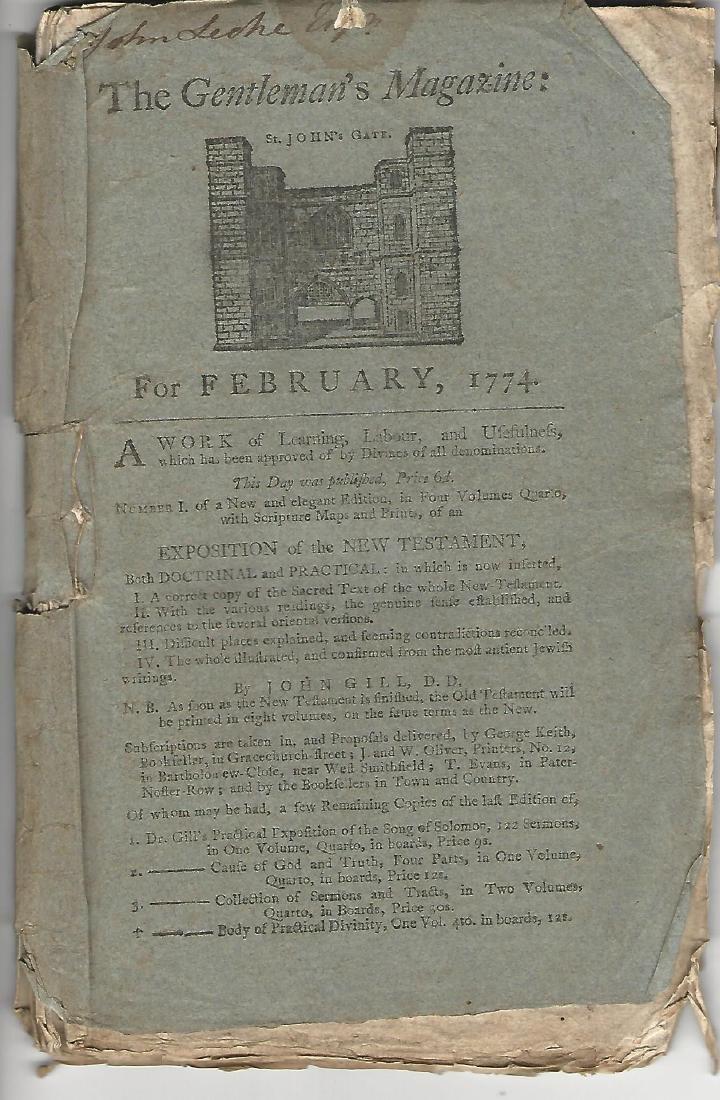 1774 Magazine Account of Cook's Voyage Around World