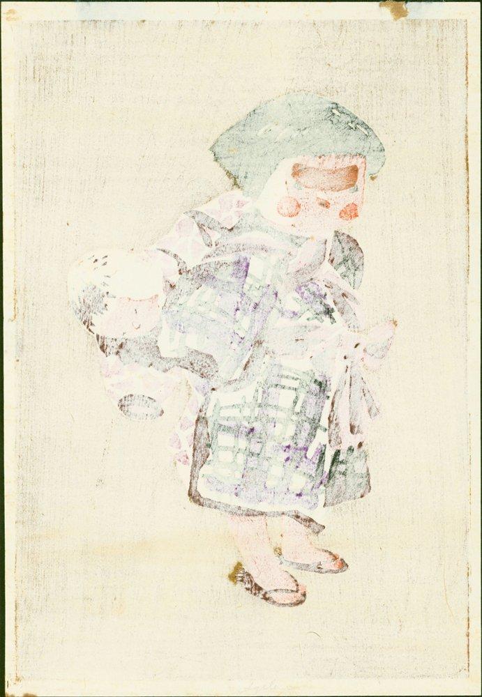 Kiyoshi Saito Woodblock Child Carrying Baby - 2