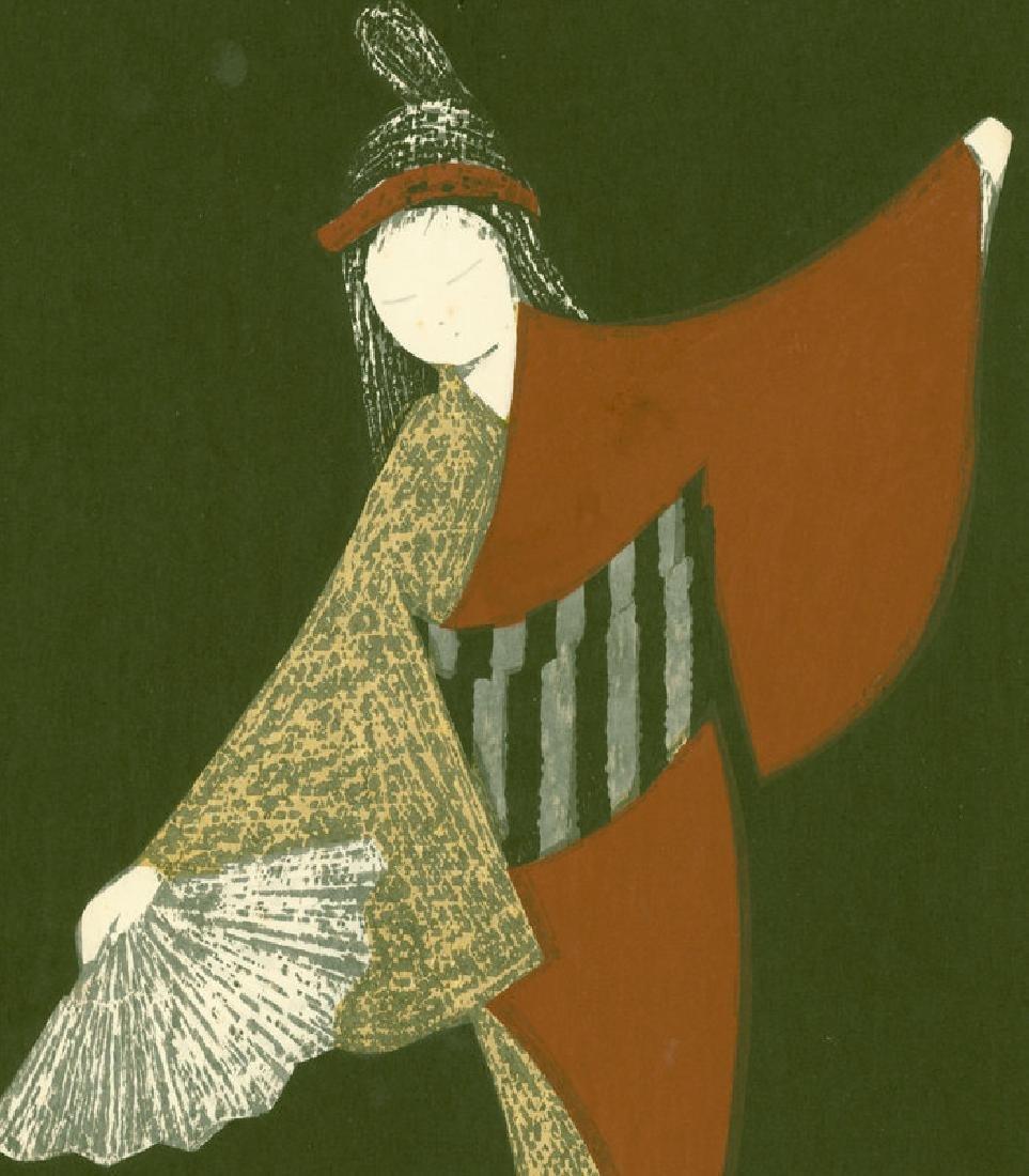 Kaoru Kawano Woodblock Dancing Figure (Mai Ogi) - 2