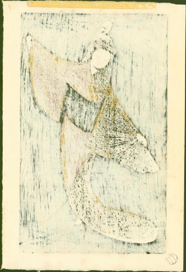Kaoru Kawano Woodblock Dancing Figure (Mai Ogi) - 4