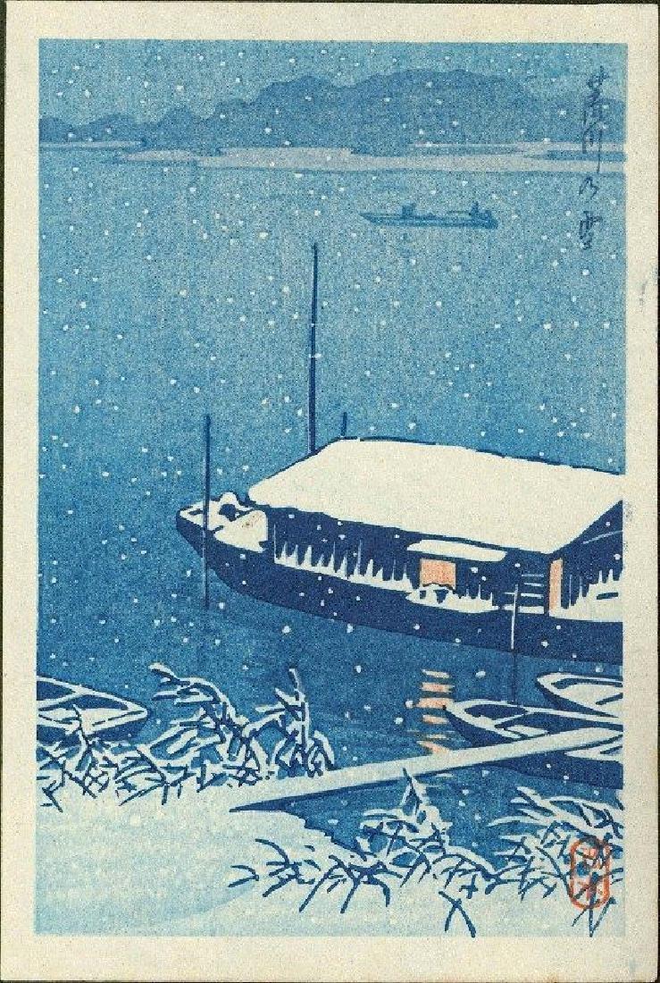 Kawase Hasui Woodblock Snow at Arakawa River