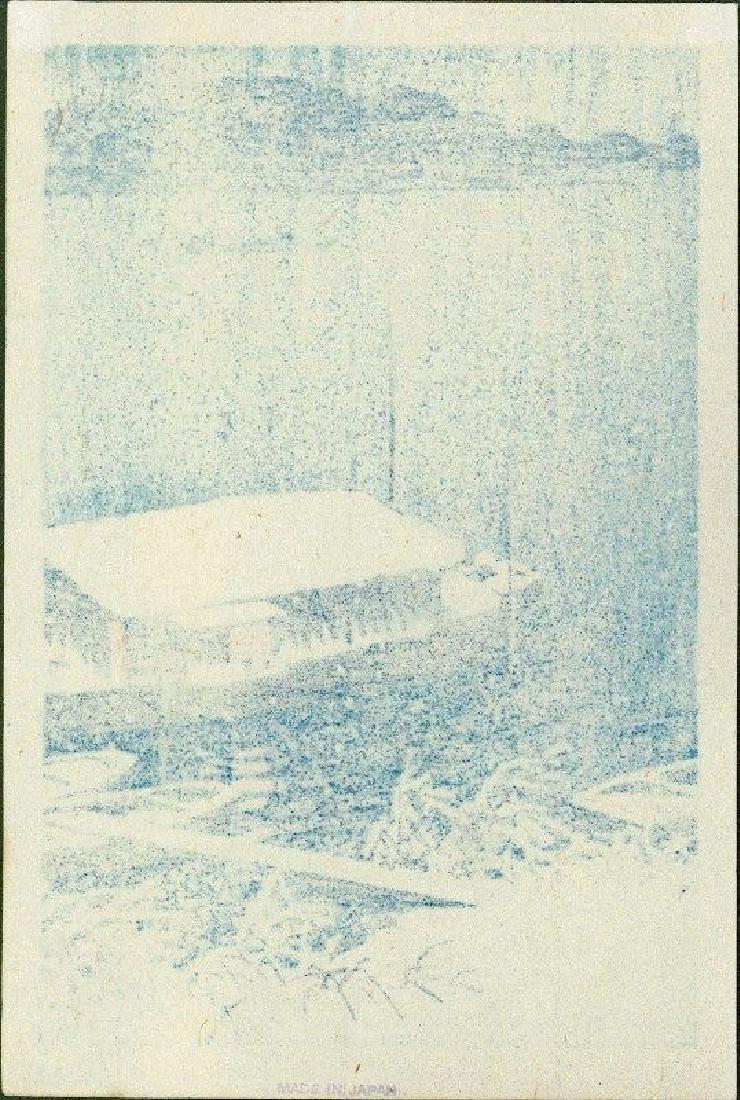Kawase Hasui Woodblock Snow at Arakawa River - 2