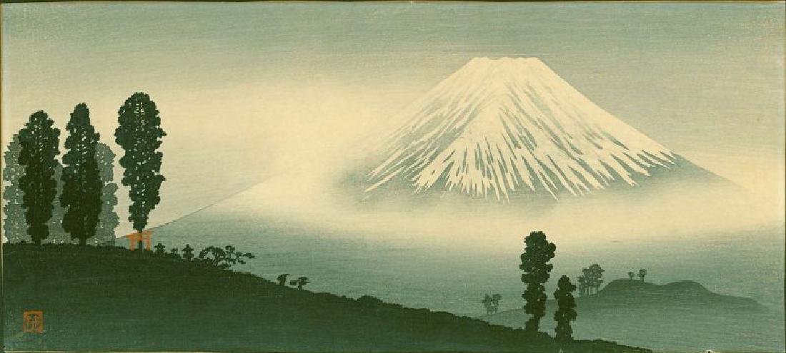 Takahashi Shotei Woodblock Mount Fuji in Mist