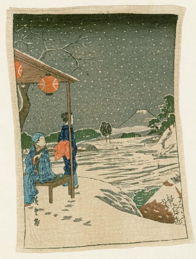 Ando Hiroshige Woodblock Geisha and Fuji in Snow